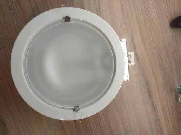 Lampy sufitowe wpuszczane, białe średnica 23 cm + żarówki Philips nowe