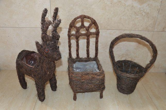 Kolekcja 3 naturalnych doniczek z gałązek. Koszyk, jeleń, krzesło.