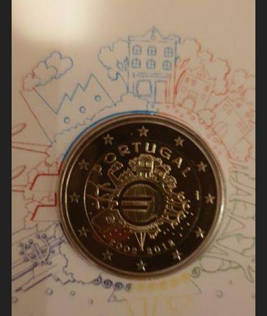 Moeda de 2€( 10 anos do euro) proof em carteira.