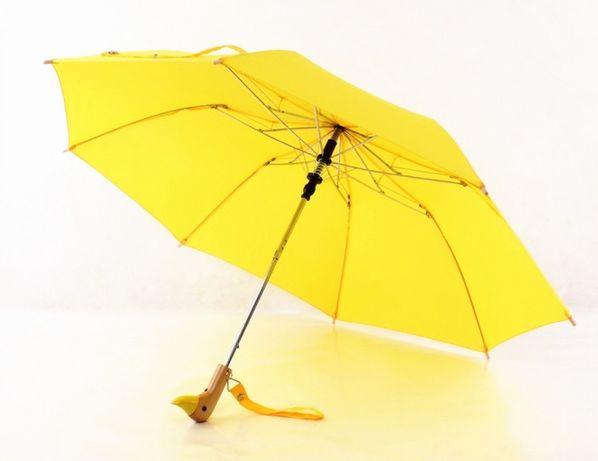 Зонт с деревянной ручкой голова утки Желтый