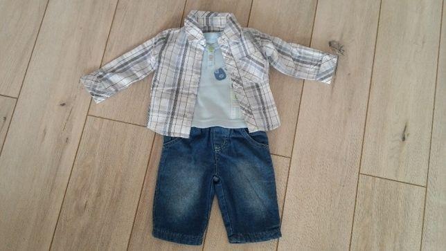 zestaw ubranek spodnie, koszulka koszula 0-3 m-ce