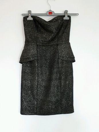 Złota sukienka mini z baskinką 36 S czarna