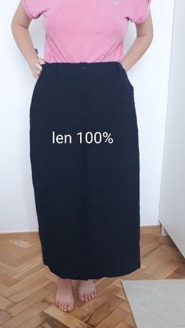 Czarna spódnica lniana len 100% rozm. 44