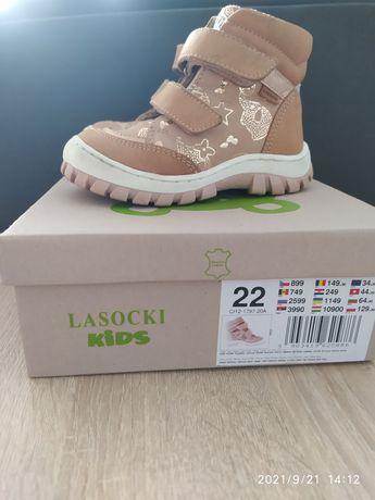 Skórzane kozaki beżowe dla dziewczynki ocieplane r. 22 Lasocki Kids