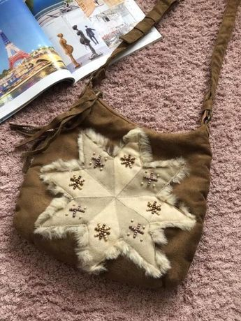 Продам новую стильную сумку с меховой отделкой
