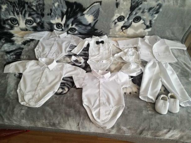 Białe ubranko do chrztu dla chłopca