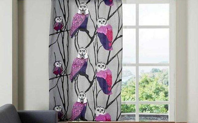 Шторы хлопковые фотошторы портьерные занавески совы птицы 145х250