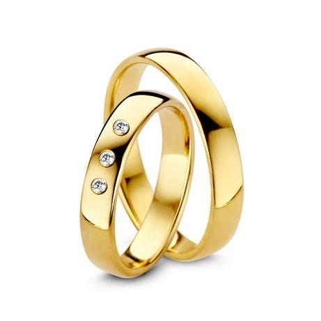 Śliczna Subtelna Para Złotych Obrączek Ślubnych