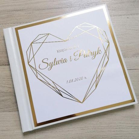 Piękna księga gości na wesele ze złotymi napisami GOLD GLAMOUR