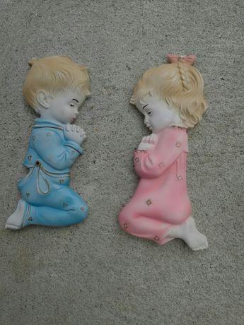 Estatuetas menina e rapaz bom estado