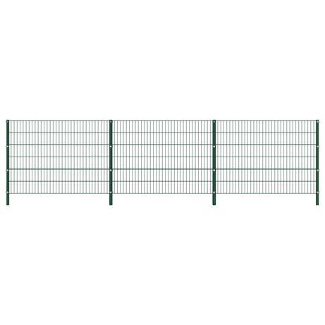 vidaXL Painel de vedação com postes ferro 5,1x1,2 m verde 278663