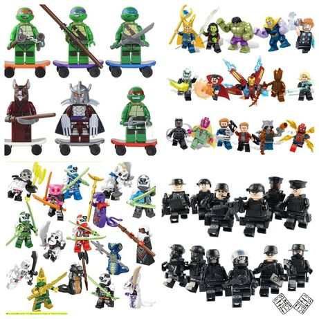 Фигурки, человечки, мстители, спецназ, солдаты, зомби, машина лего