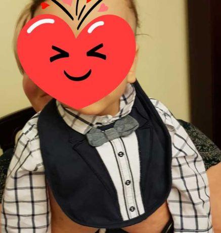 Body niemowlęce koszulowe z eleganckim śliniakiem r.68