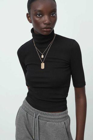 Zara koszulka sweterek z golfem prążkowana dzianina 36/S czarna