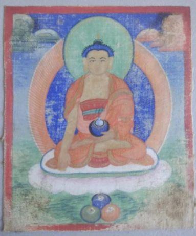 Tybetańska tanka miniaturowa Amitābha. 19 wiek