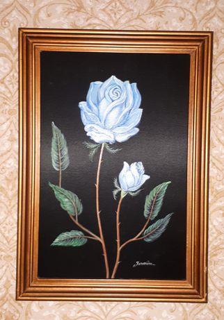 Quadro seda pintada à mão - assinado - Vintage