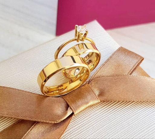 Śliczny Duet Złotych Obrączek Ślubnych