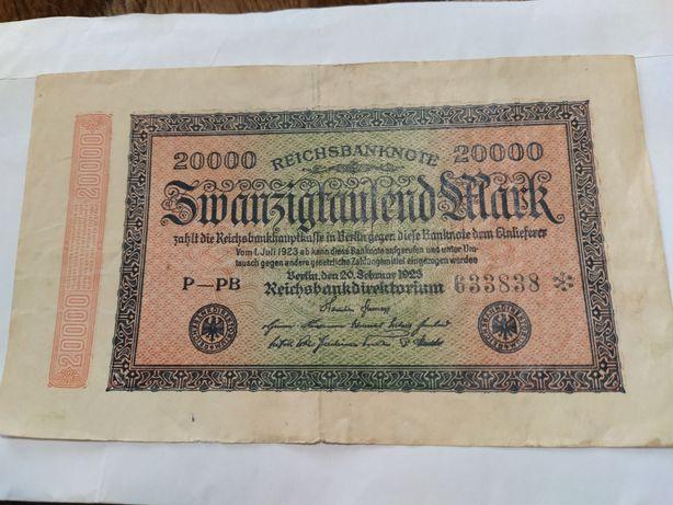 Німецька марка ( банкнота) 1923 р 20 000 Zwanzigtausend Mark