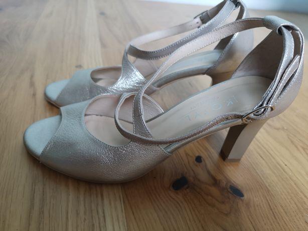 Buty ślubne sandałki kotyl Gold złoty
