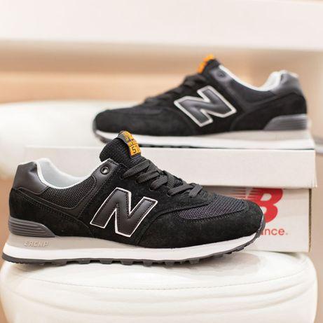 3214 New Balance 574 чёрные кроссовки мужские нью баланс замшевые