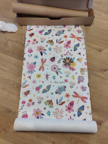 Nowa Tapeta dla dzieci w kwiaty rośliny motyle owady. Wallpic