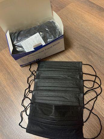 Чёрные одноразовые защитные маски для лица 130/упаковка