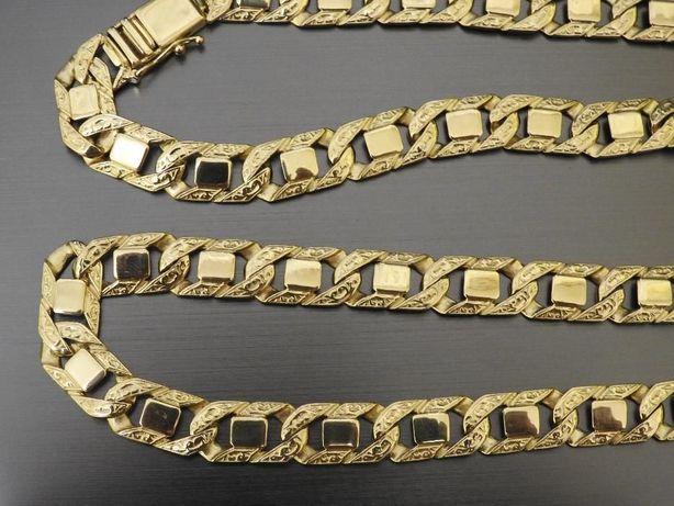 piękny złoty łańcuch 1cm 585 14k