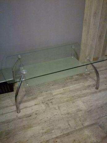 Stolik szklany srebrne nogi