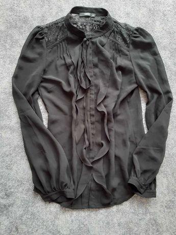 Koszula mgiełka czarna koronka falbanki wiazana stójka bufki XS S M