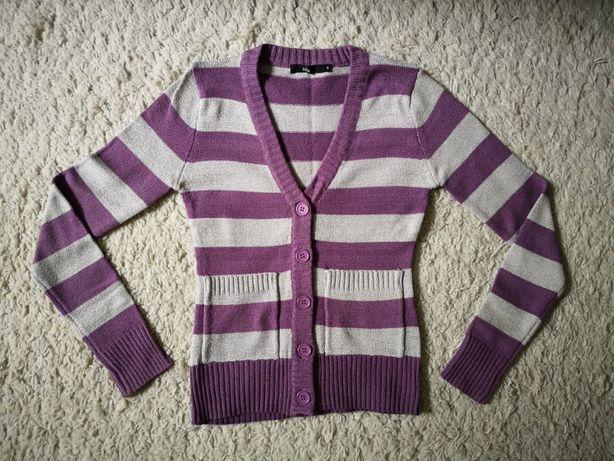 Sweter w paski, rozpinany na guziki, rozmiar S
