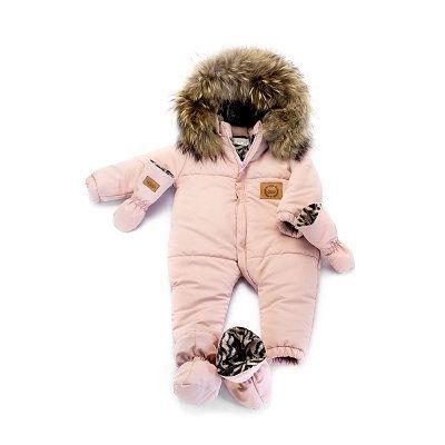 Зимний детский костюм LAttante со съемным натуральным мехом 74-78