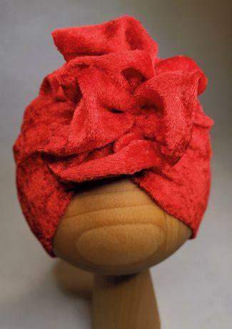 Turban welurowy czerwony