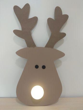 Renifer świecący nos 51cm hand made
