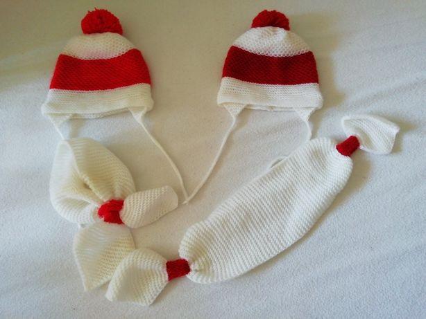 Komplety na szydełku czapeczka+szalik dla bliźniaczek