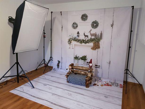 Tło fotograficzne świąteczne białe deski podłoga plus kominek