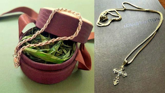 Золотой браслет (веревка) 585 и крестик/крест 10К карат (417 проба)
