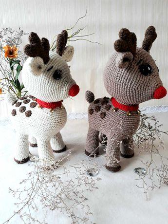 Вязаный олень, Вязаная игрушка, Оленяш Рудик, Подарок ребёнку.