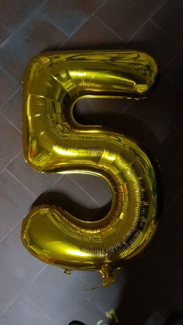 Balão foil Aniversário Numero 5 anos de 100 cm.