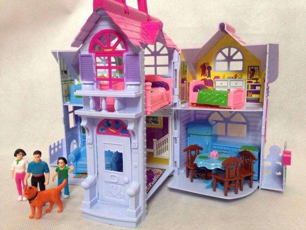 Domek Chatka dla lalek barbie Pokoje Kuchnia Pies Dom lalki dla dzieci