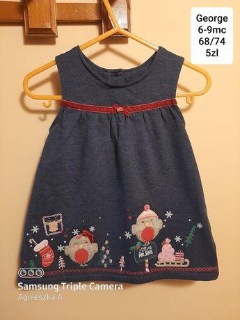 Sukienka 6-9mc dresowa swieta wrobelki christmas