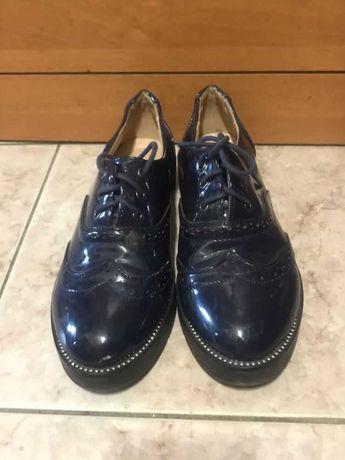 Лакированные туфли для девочки, синие, танкетка р.36