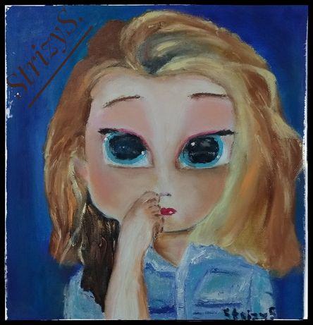 "Картина маслом ""Английская студентка Джейн"", 30х30"