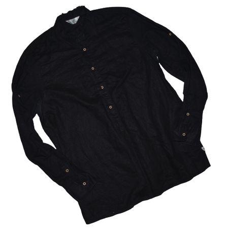 Calliope r.L czarna koszula ze stójką ramie (jak len)