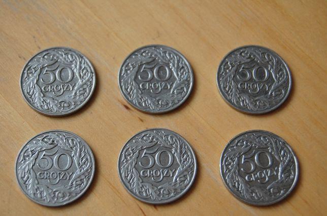 Moneta, monety 50 groszy z 1923 roku. 6 sztuk za 50 zł.