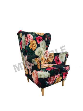 Fotel  Uszak w kolorowe kwiaty. HIT  Rajskie kwiaty.