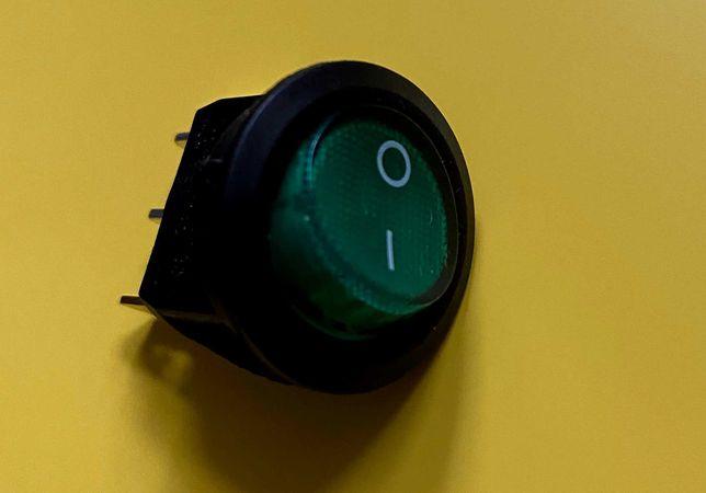 Przełącznik kołyskowy 2 pozycyjny ON - OFF zielony