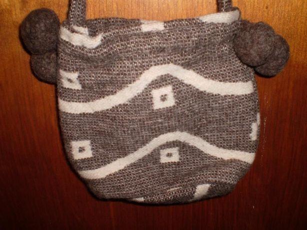 сумка/сумочка детская, текстиль/шерсть, на шлейке, 20/18/7 см.