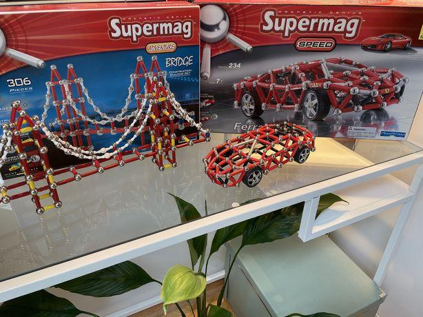 dwa modele klocki magnetyczne supermag samochód ferrari f430 oraz most