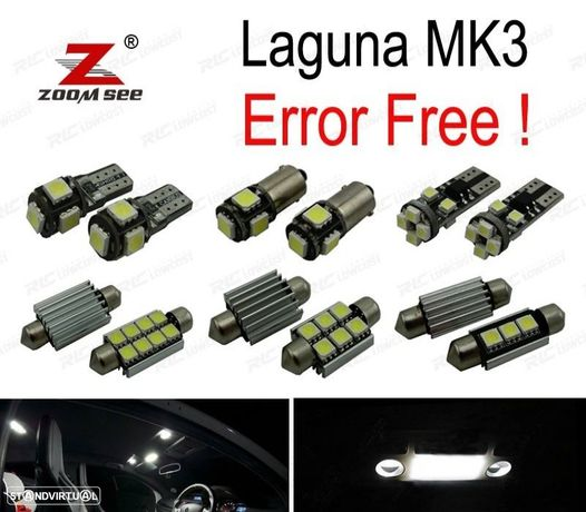 KIT COMPLETO DE 17 LÂMPADAS LED INTERIOR PARA 2008-2015 RENAULT LAGUNA III 3 MK3