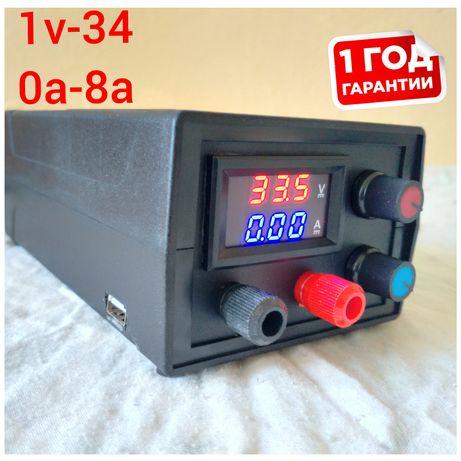 Лабораторный блок питання Регулируемый от 1v до 34v и от0до8А зарядное